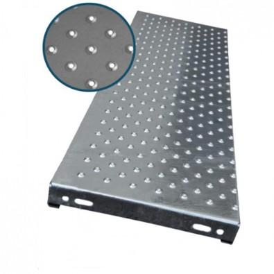 Marche escalier acier à picots antidérapants 900 x 240 mm galvanisée