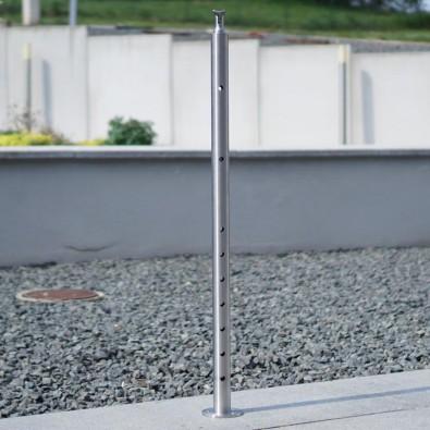 Poteau de milieu de garde corps inox 304 brossé remplissage 9 barres ø 12 mm