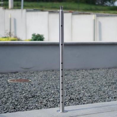 Poteau d'angle à 90° de garde corps inox 304 brossé remplissage 9 barres ø 12 mm