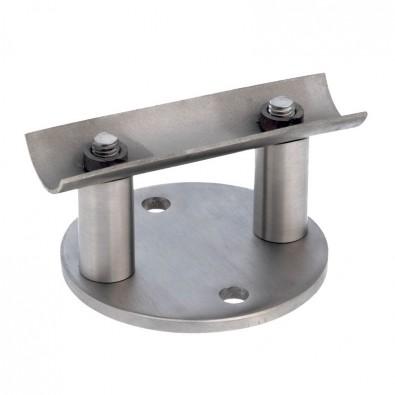 Platine de fixation latérale ronde pour poteau inox avec déport 90 mm