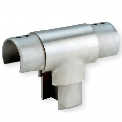 Té pour tube à gorge de diamètre 48,3 x 1,5 mm en inox 316 brossé