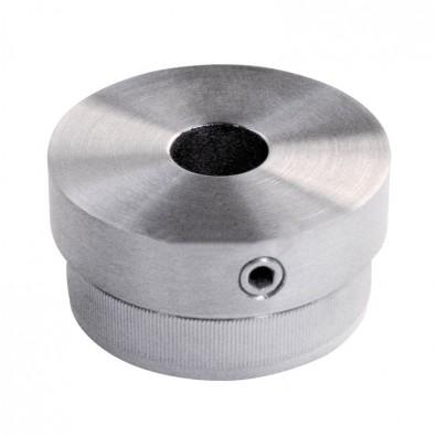 Bouchon massif  percé plat de tube rond inox 33,7 mm inox 316 brossé