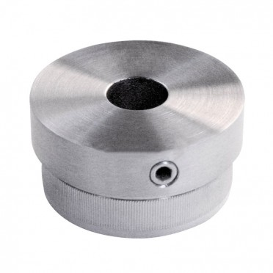 Bouchon massif percé plat de tube rond inox 42,4 mm inox 316 brossé