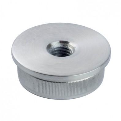 Bouchon massif fileté plat pour tube rond inox 33,7 mm inox 304 brossé