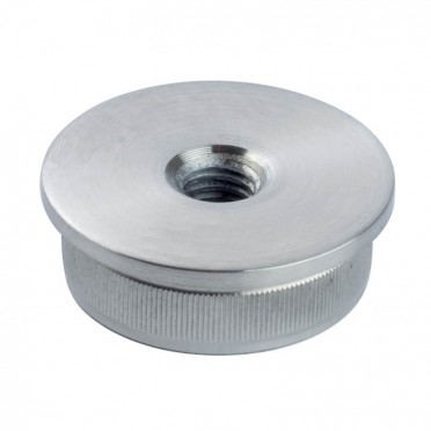 Bouchon massif fileté plat pour tube rond inox 48,3 mm inox 304 brossé