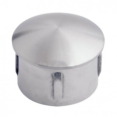Bouchon bombé pour tube inox rond 20 mm ép 1 à 2 mm, inox 316 brossé