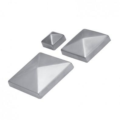Chapeau couvre poteau 70 x 70 mm, pointe de diamant inox 316 brossé