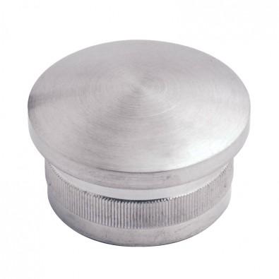Bouchon moleté et bombé diamètre 33,7 mm en inox 316 brossé à frapper
