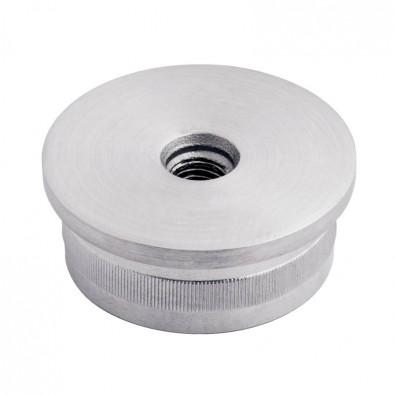 Bouchon fileté plat pour tube rond inox 42,4 mm inox 316 brossé