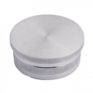Bouchon pas cher massif plat diam 33,7 mm en inox 316 brossé à frapper