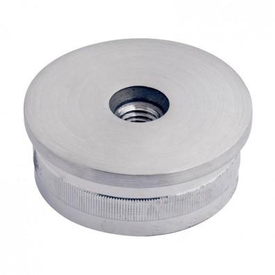 Bouchon massif fileté plat pour tube rond inox 42,4 mm inox 316 brossé