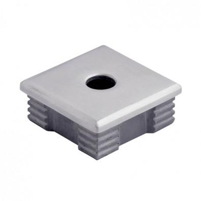 Bouchon massif percé plat de tube carré inox 50x50 mm inox 316 brossé