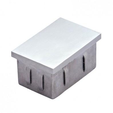 Bouchon plat pour tube inox rectangulaire 50 x 30mm en inox 304 brossé