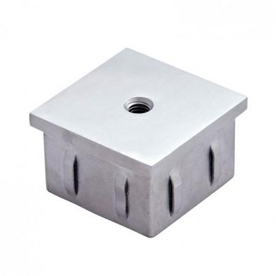 Bouchon plat fileté pour tube inox carré 60 x 60 mm en inox 304 brossé