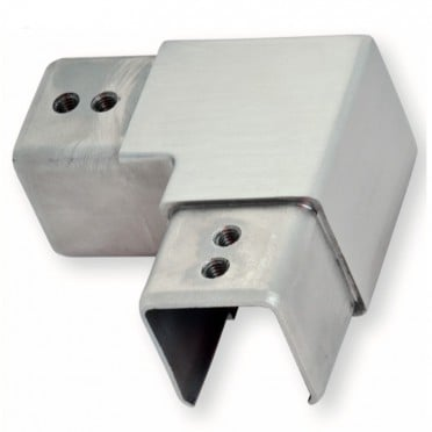 Coude à 90 horizontal de tube à gorge carré 25 x 25 mm inox 304 brossé