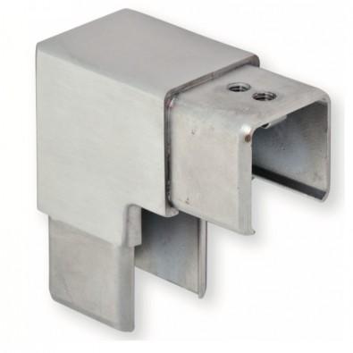 Coude à 90 vertical de tube à gorge carré 25 x 25 mm inox 304 brossé