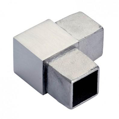 Coude à 90 degrés mâle-mâle en inox 316 brossé tube carré 25 x 25 mm