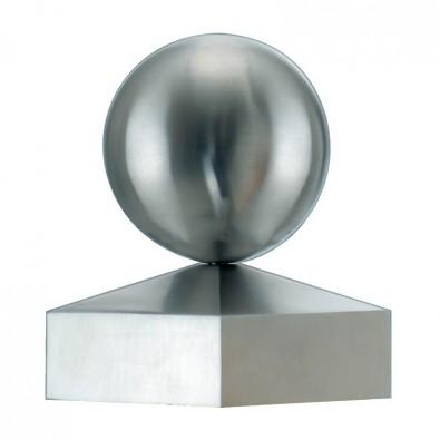 Chapeau couvre poteau et boule inox section 90 x 90 mm, boule diamètre 90 mm