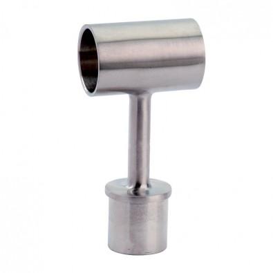 Liaison de mains courantes bois sur poteau inox 42,4 mm