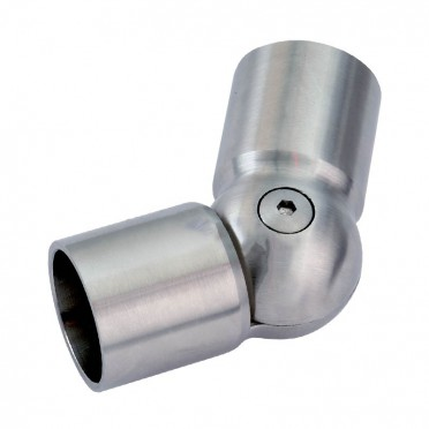 Coude orientable inox poli miroir de 90 à 180° de main courante bois
