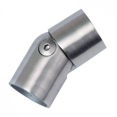 Coude orientable en inox brossé de 0 à 45° pour main courante bois