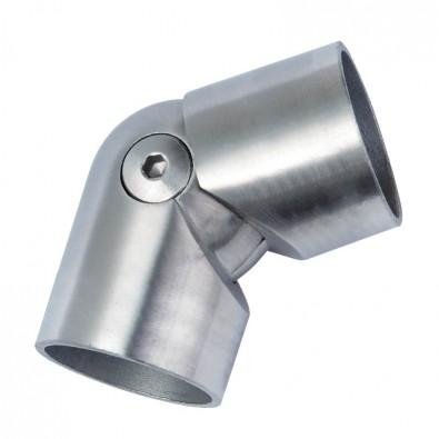 Coude orientable en inox brossé de 45 à 90° pour main courante bois