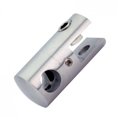 Pince cylindrique à verre pour lisse ronde ø 16 mm en inox 304 brossé