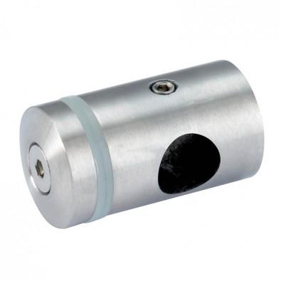 Support de verre sur lisse ronde ø 16 mm en inox 304 brossé