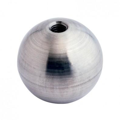 Boule déco en inox pleine  diamètre 60 mm, trou taraudé M10
