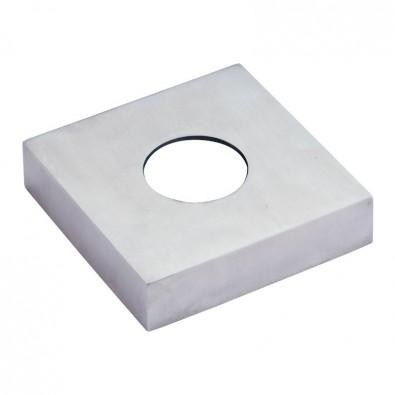Cache-platine carré de côté 102 mm pour tube ø 42,4 mm inox 316 brossé