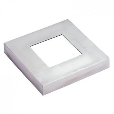 Cache-platine carré de côté 72 mm pour tube 30 x 30 mm inox 316 brossé