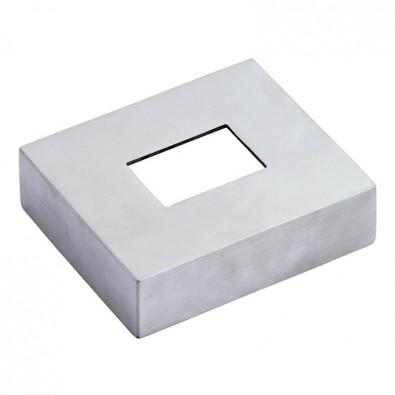 Cache-platine rectangulaire pour tube 40 x 30 mm, en inox 316 brossé