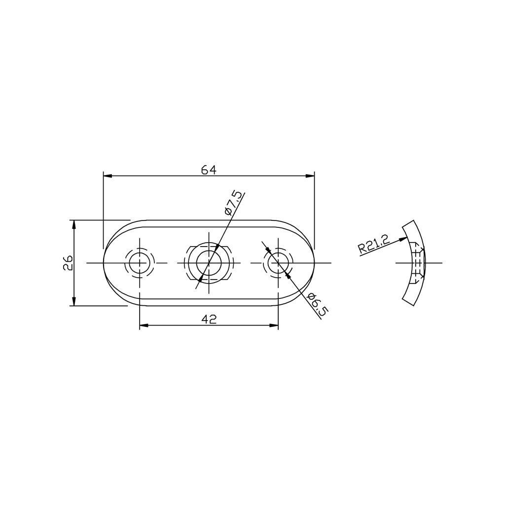 Support de fixation pour main courante plate mm en inox 304 bross - Support de main courante ...