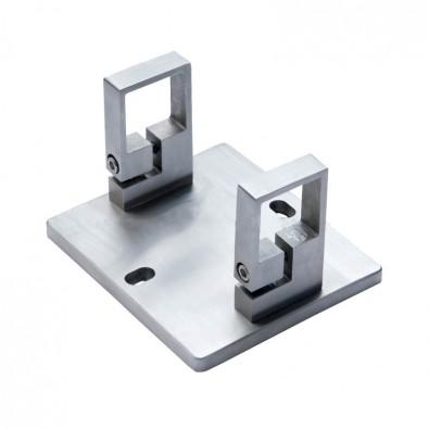 Platine de fixation rectangulaire 2 colliers pour poteau inox 40x40 mm