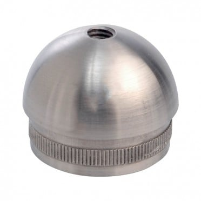 Bouchon fileté 1/2 sphère pour tube rond inox 33,7 mm inox 304 brossé