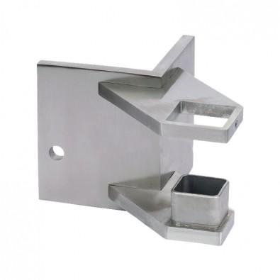Platine rectangulaire d'angle saillant pour poteau 40 x40 mm inox 304