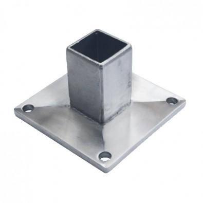 Platine sécurité de poteau rectangulaire 40 x 20 mm en inox 304 brossé