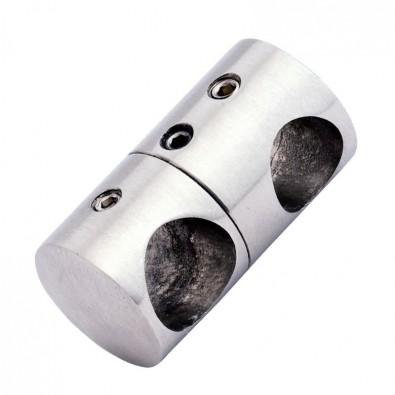 Support double ø 12/12 mm inox 316 brossé pour barreaudage vertical