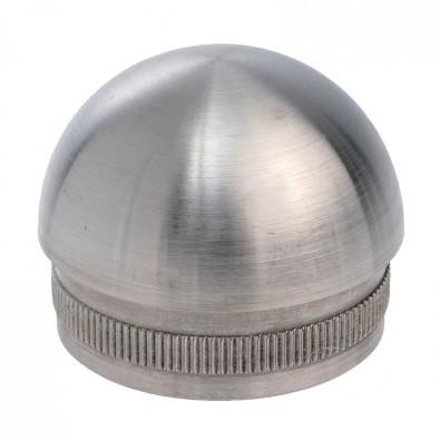 Bouchon 1/2 sphère pour tube rond inox diam 33,7 mm en inox 304 brossé