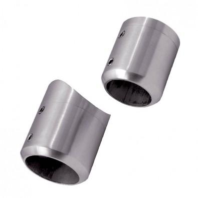 Support de barre ø26,9mm en 2 parties sur tube ø42,4mm inox 316 brossé