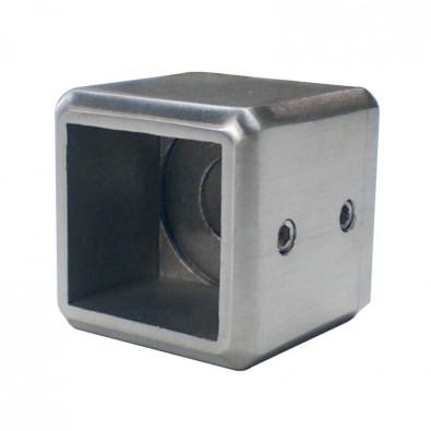 Support de barre 25/25mm en 2 parties sur support plat inox 316 brossé