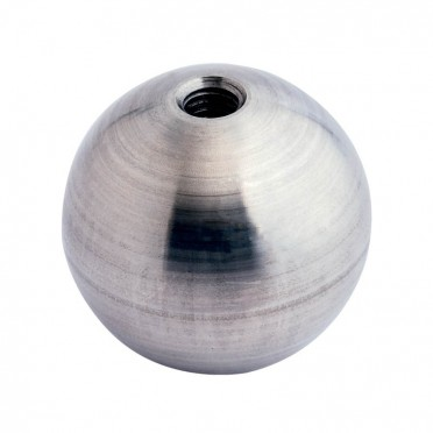 Boule déco en inox pleine diamètre 15 mm, trou taraudé M6