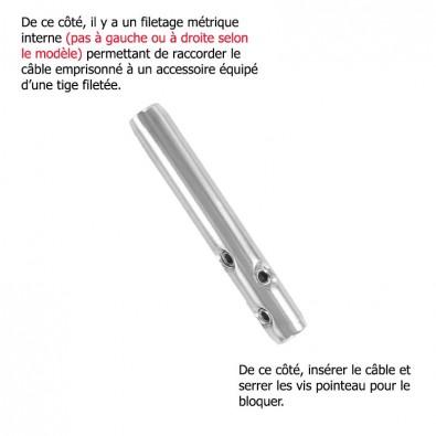 Serre câble  ø 4 mm et filetage M6 pas à droite en inox 316 brossé