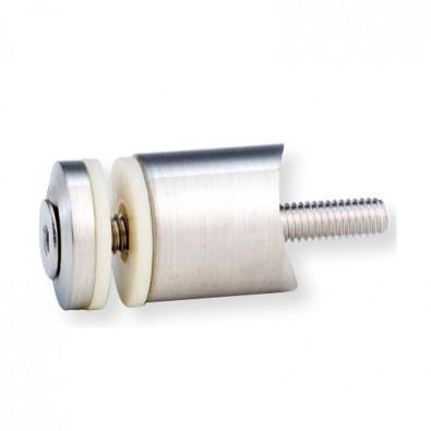 Support cylindrique de verre sur support plat inox 316 brossé
