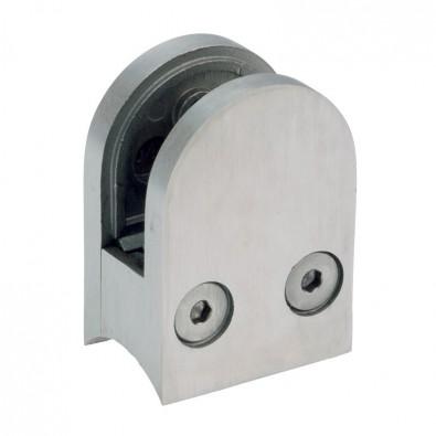 Pince à verre demi-ronde 40 x 50 mm pour tube ø48,3 mm inox 316 brossé verre 8 mm