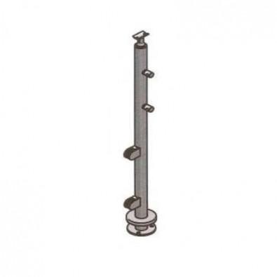 Poteau départ droite pour verre 8,76 mm et barres 12mm inox 304 brossé