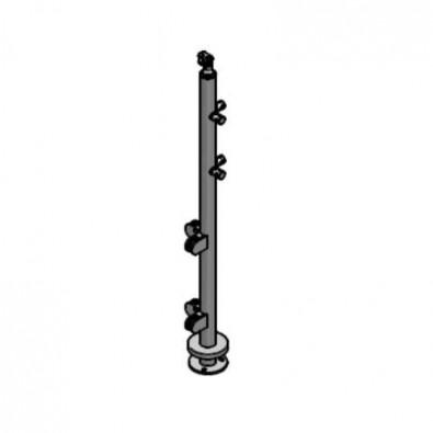 Poteau d'angle à 90° pour verre 8,76 mm et barres 12mm inox 304 brossé