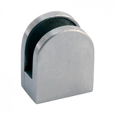 Pince à verre demi-ronde 29 x 35 mm sur support plat inox 304 brossé verre 4 mm