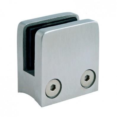Pince à verre carrée 30 x 30 mm pour support plat inox 304 brossé verre 8 mm