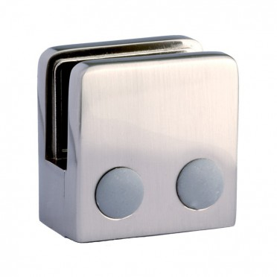 Pince à verre carrée 45 x 45 mm pour tube ø 33,7mm zamac finition inox verre 6 mm